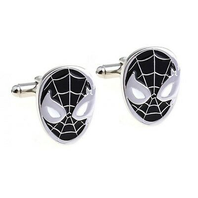 Stylish Men's Women's Black Spiderman Cufflinks For Wedding Party • 4.99£