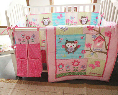 £69.53 • Buy Baby Girl Pink Nursery Bedding Set 8PCS Crib/Cot Accessories Cute Owl Quilt 04