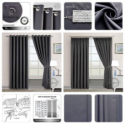 THERMAL BLACKOUT CURTAINS Eyelet Ring Top OR Pencil Pleat FREE Tieback Dark Grey • 28.99£