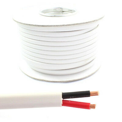 White Flat Twin 2 Core Cable 12v 24v Thin Wall Wire (16.5 AMP & 25 AMP Rated) • 19.95£