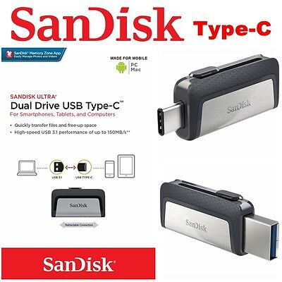 AU15.95 • Buy Type C USB 3.1 SanDisk 32GB 64G 128G 256 16G Dual Flash Drive Stick Thumb PC Mac
