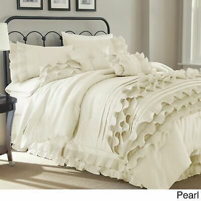 $ CDN120.87 • Buy Queen King Bed Solid Neutral White Ruffles Frilly 8 Pc Comforter Set Bedding