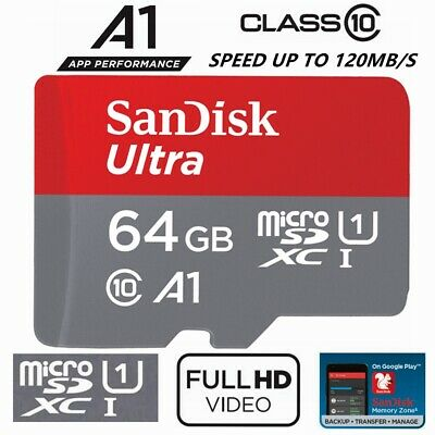 AU14.95 • Buy SanDisk Micro SD Card 64GB Ultra Class 10 SDXC Mobile Phone Camera A1 100Mb/s