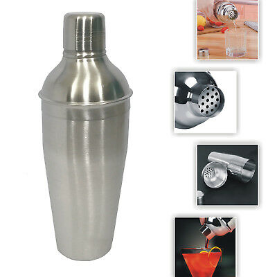 750 Ml Stainless Steel Cocktail Shakers Mixer Drink With Built In Strainer Matt • 9.59£