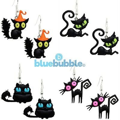 £3.95 • Buy Bluebubble CRAZY CATS Earrings Halloween Funky Fancy Dress Scary Witch Animal