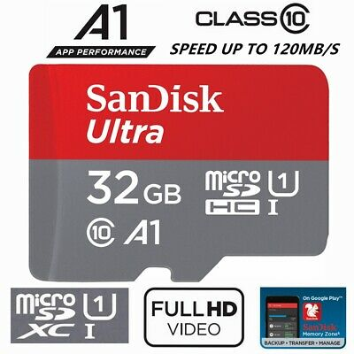 AU9.80 • Buy Micro SD Card 32GB SanDisk Ultra Class 10 SD Mobile Smart Phone Camera A1 98Mb/s