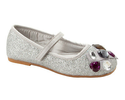 Girls Ex Clarks Silver Glitter Gem Bridesmaid Wedding Party Shoes Uk Size 10-2 • 8.99£