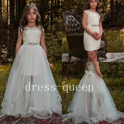 AU83.97 • Buy Pretty Ivory Flower Girl Dresses For Weddings Teens Pageant Dress Overskirt Gown