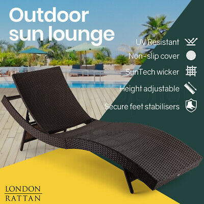 AU169 • Buy LONDON RATTAN Outdoor Sun Lounge Wicker Day Bed Furniture Pool Chair Sofa Curved