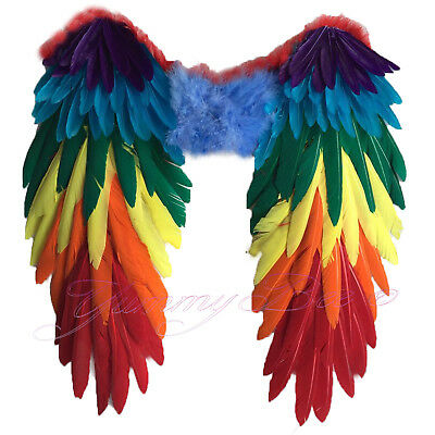 Wings Fancy Dress Rainbow Pride Large Halloween Parrot Feather Angel Bird Adult • 20.97£