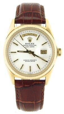 $ CDN10042.77 • Buy Mens Rolex Day-Date President 18K Yellow Gold Watch Brown Band White Dial 1803