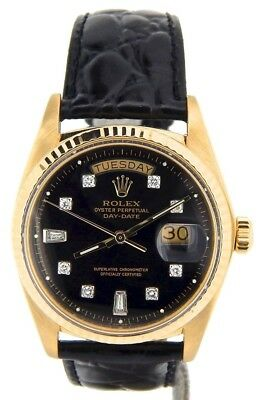 $ CDN10526.86 • Buy Men Rolex Day-Date President Solid 18K Yellow Gold Watch Black Diamond Dial 1803
