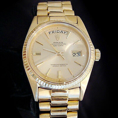 $ CDN13939.21 • Buy Mens Rolex Day-Date President 18K Yellow Gold Watch Champagne Dial Vintage 1803