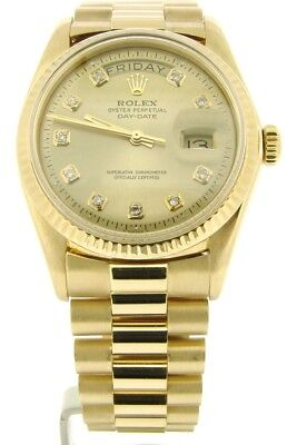 $ CDN17372.10 • Buy Mens Rolex Day-Date President Solid 18K Yellow Gold Watch Champagne Diamond 1803