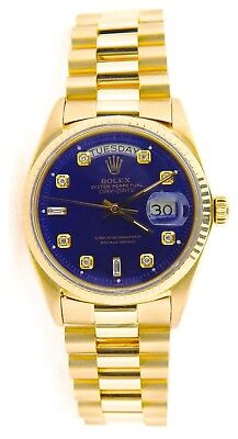 $ CDN16667.54 • Buy Mens Rolex Day-Date President Solid 18K Yellow Gold Watch Blue Diamond Dial 1803