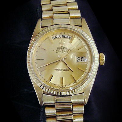 $ CDN17386.56 • Buy Mens Rolex Day-Date President 18K Yellow Gold Watch Champagne Stick Dial 1803