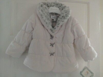 £24.99 • Buy New Baby Girls Pink Coat, Leopard White Grey Faux Fur Collar BNWT 0-6 Or 12-18
