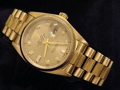 $ CDN18108.72 • Buy Mens Rolex Day-Date President 18k Yellow Gold Watch Bark Champagne Diamond 18078