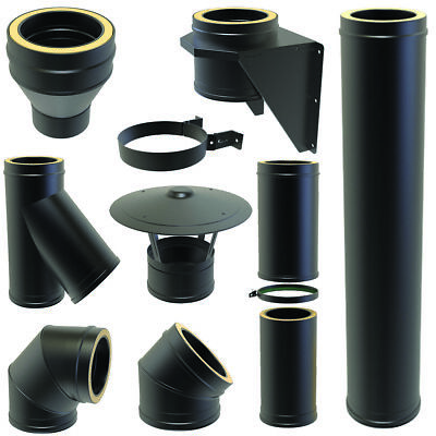 Convesa 5inch Twin Wall Flue Kit Black Pipe Fittings Bends Tees 125mm 25 Yr • 18.33£