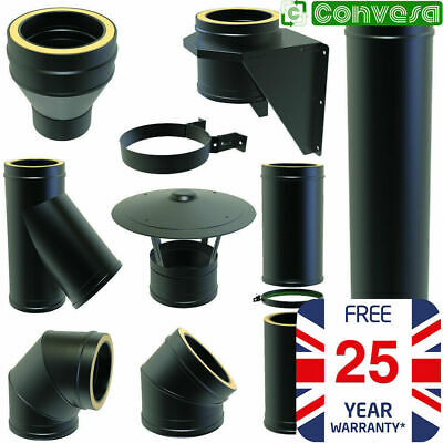Black Twin Wall Flue Kit Pipe Fittings Bends Tees 5inch 125mm Convesa KC 25 Year • 87.49£