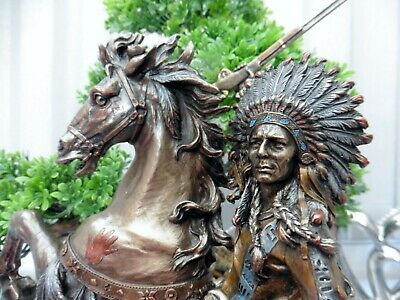 NATIVE AMERICAN INDIAN CHIEF ON REARING HORSE  STATUE SCULPTURE 33cm X 24cm  • 64.95£