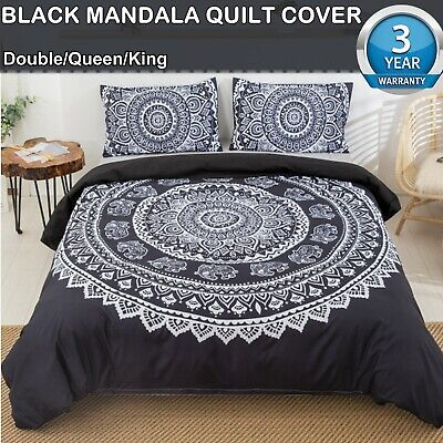 AU35.25 • Buy Black Mandala Floral Double/Queen/King Size Duvet Doona Quilt Cover Set Bedding
