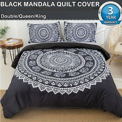 AU39.55 • Buy Black Mandala Quilt Cover Set Queen/King/Double Size Bed New Duvet Doona Cover