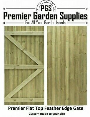 £65 • Buy Bespoke Custom Made To Measure Timber Wooden Garden Gate/Feather Edge Flat Top