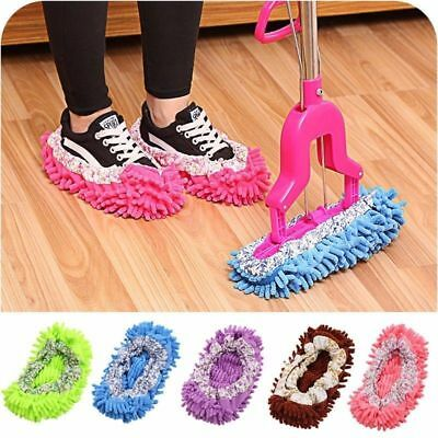 Microfibre Duster Shoe Sock Slippers Mop Dust Remover Cleaning Floor Polishers • 2.93£