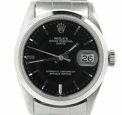 $ CDN4352.76 • Buy Mens Rolex Date Stainless Steel Watch Vintage Oyster Rivet Band Black Dial 1500