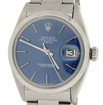 $ CDN3703.52 • Buy Mens Rolex Date Stainless Steel Watch Oyster Style Bracelet Blue Dial Domed 1500
