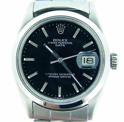 $ CDN3958.93 • Buy Mens Rolex Date Stainless Steel Watch Oyster Rivet Band Black Dial Domed 1500