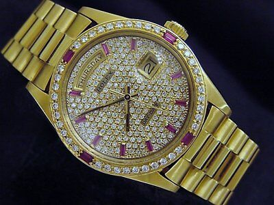 $ CDN20605.77 • Buy Rolex Mens Day-Date President Solid 18K Yellow Gold Watch Quickset Pave Diamond