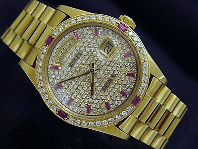 $ CDN20776.01 • Buy Rolex Mens Day-Date President Solid 18K Yellow Gold Watch Quickset Pave Diamond