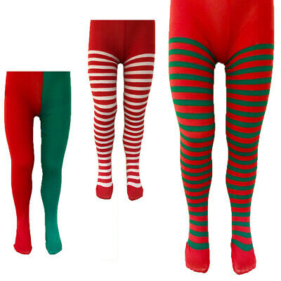 Children Kids Girls Christmas Xmas Tights Elf Santa Fancy Dress Costume Stripe • 2.99£