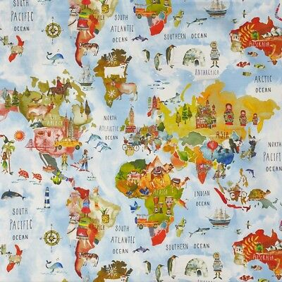 £8.99 • Buy Adventure World Map Rainbow  Cotton PVC WIPE CLEAN Tablecloth Oilcloth