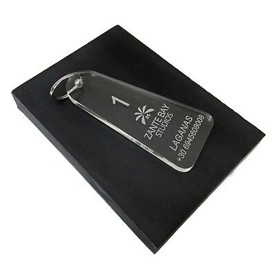 Clear Acrylic Plastic Hotel Key Fobs Tags Personalised Engraved • 2.99£