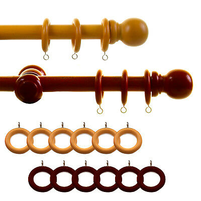 23mm Wooden Curtain Pole Set With Rings Brackets And Fixings Natural Walnut • 8.99£