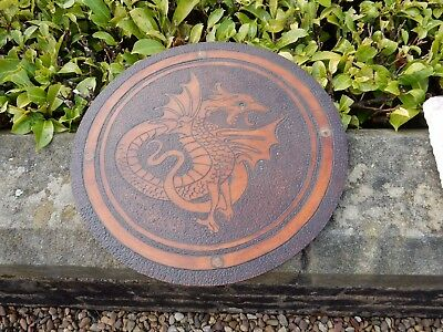 Treen POKERWORK  DRAGON  TABLE TOP Or Upcycle As   TARGE To Restore  DRAGONEYE • 75£