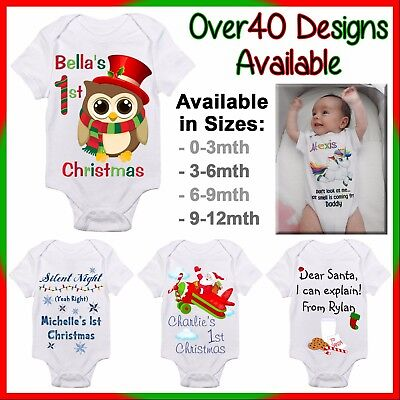 AU22 • Buy Personalised First Christmas Baby One Piece Romper Customised Name Gift 1st Xmas