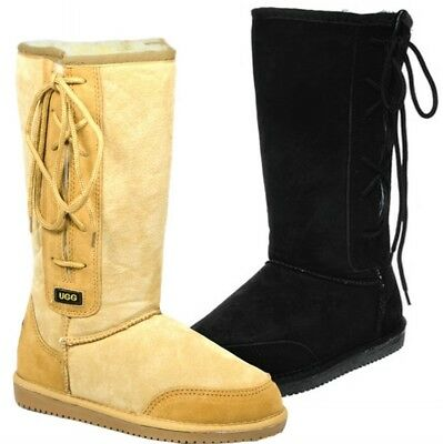 AU119.95 • Buy Originals Ugg Australia LaceUp Long Snow Boot Chestnut Black 6 8 10 12 Men Women