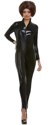 Ladies Sexy Dominatrix Posh Spice Black Catsuit Fancy Dress Costume Outfit  • 29.99£