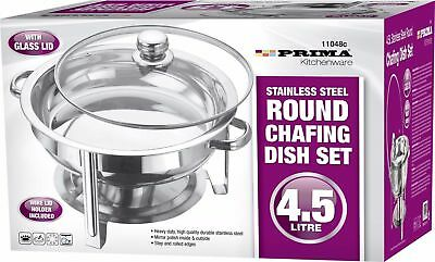 £29.99 • Buy 4.5l S/steel Round Chafing Dish Glass Lid Food Warmer Catering Buffet Tray Rack