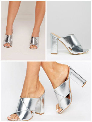 £13.99 • Buy Missguided Cross Strap Block Heeled Sandals Shoes In Silver Colour