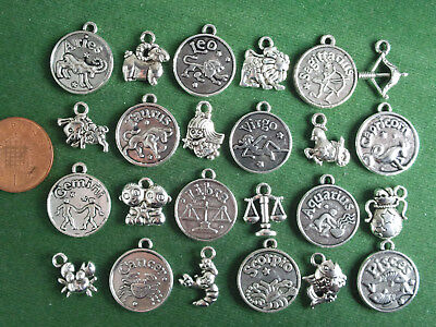 Zodiac Charms - Antique Silver - Horoscope Coins Symbols Mixed Sets Star Sign • 2£