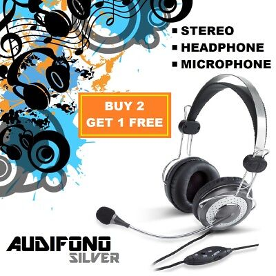 AU19.90 • Buy Audifono Silver Headphones With Microphone For Gaming Headset For IPhone Samsung
