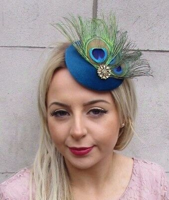 £13.95 • Buy Teal Blue Gold Green Peacock Feather Pillbox Hat Fascinator Hair Clip Races 4517