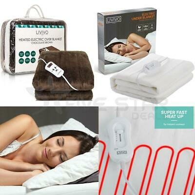 Electric Heated Throw Over Under Blanket Fleece Washable Polyester Warm Mattress • 13.94£