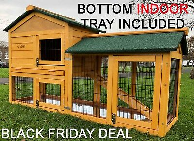 5ft Outdoor Rabbit Hutch And Run 2 Two Tier Wooden Guinea Pig Bunny Indoor Tray • 144.99£