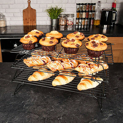 3Tier Steel Wire Stackable Non-Stick Cake Biscuit Cooling Tray Rack Stand Baking • 15.58£
